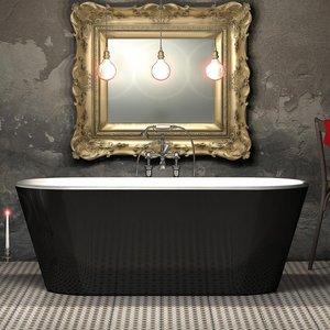 Charlotte Edwards Grosvenor Gloss Black 1650mm Freestanding Bath