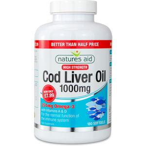 Natures Aid Natures Aid Cod Liver Oil 1000mg High Strength 180 Softgels