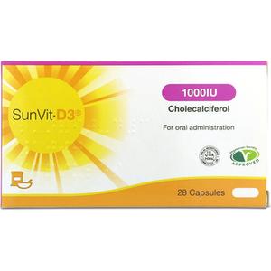 Sunvit-d3 1000iu Cholecalciferol Vitamin D 28 Capsules