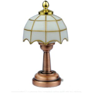 Streets Ahead 1/12th Scale Dolls House 3v Led White Tiffany Table Lamp - White Tiffany Table Lamp - De31 De311