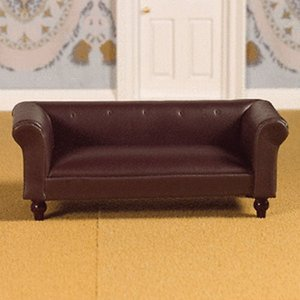 Dolls House Emporium Brown Leather Sofa - 3957
