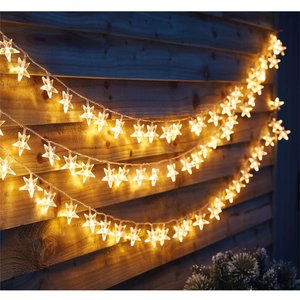 Homebase 100 Star Outdoor Christmas Party Lights - Warm White Decorations, White