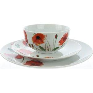 None 12 Piece Dinner Set Poppy Cookware & Utensils, White