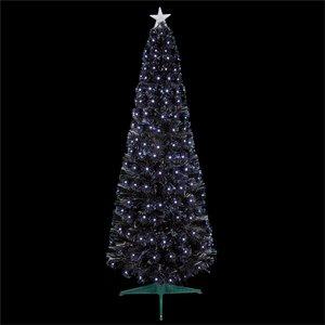None 4ft Black Slim Fibre Optic Christmas Tree With White Leds Decorations, Black