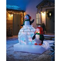 Homebase 5ft Penguins And Igloo Christmas Inflatable Decorations, Multicoloured