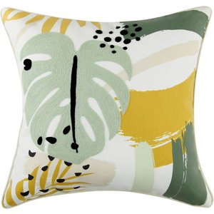 None Abstract Floral Cushion - Green And Ochre Home Accessories, Green
