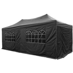Airwave Four Seasons Essential 3x6 Pop Up Gazebo With Sides - Black Sheds & Garden Furniture