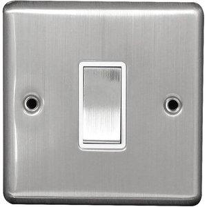 Arlec Metal Screwed 10 Amp 1 Gang 2 Way Switch Stainless Steel Diy, Brushed Steel