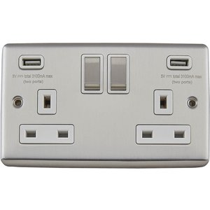 Arlec Metal Screwed 13 Amp 2 Gang Switched Socket With 2 X 3.a Usb Stainless Steel Diy, Brushed Steel