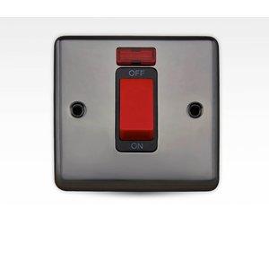 Arlec Metal Screwed 45 Amp 1 Gang Double Pole Switch With Neon Black Nickel Diy