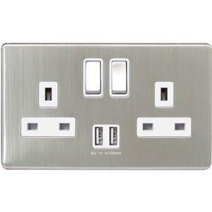Arlec Metal Screwless 13 Amp 2 Gang Switched Socket With 2 X 3.a Usb Stainless Steel Diy, Brushed Steel