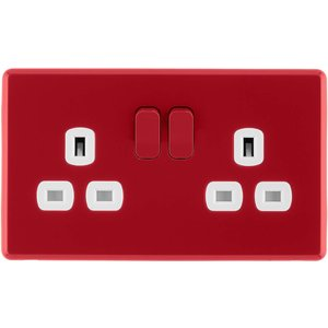 Arlec Rocker 13a 2 Gang Cherry Red Double Switched Socket Diy, Red
