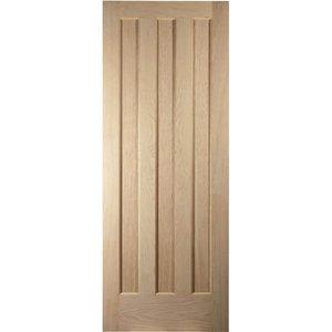 Jeldwen Aston 3 Panel White Oak Veneer Internal Door - 610mm Wide General Household, Brown
