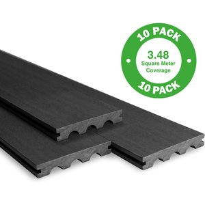 Timco Wood Bridge Board Composite Decking 10 Pack Ebony - 3.48 M2 Garden, Black