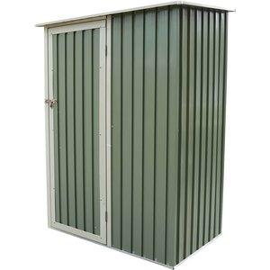 Charles Bentley 4.7ft X 3ft Green Metal Storage Shed Sheds & Garden Furniture, Green
