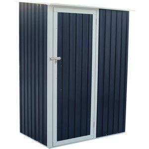 Charles Bentley 4.7ft X 3ft Grey Metal Storage Shed Sheds & Garden Furniture, Grey