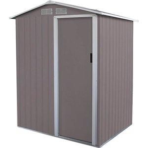 Charles Bentley 4.9ft X 4.3ft Warm Grey Metal Storage Shed Sheds & Garden Furniture, Grey