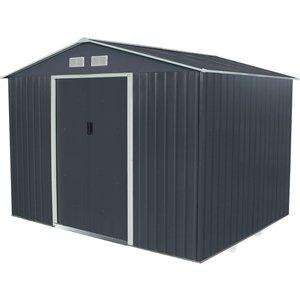 Charles Bentley 9ft X 6ft Grey Metal Storage Shed Sheds & Garden Furniture, Grey