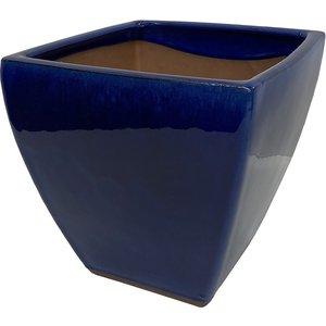 None Chiswick Square Imperial Terracotta Pot In Blue - 29cm Garden, Blue