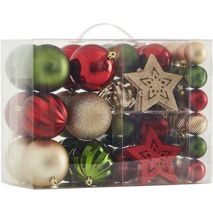 None Deco Luxe Shatterproof Hanging Christmas Tree Decorations - 60 Pack, Multicoloured