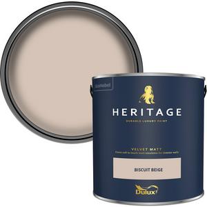Dulux Heritage Matt Emulsion Paint - Biscuit Beige - 2.5l Painting & Decorating, Beige