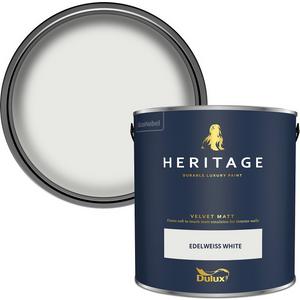 Dulux Heritage Matt Emulsion Paint - Edelweiss White - 2.5l Painting & Decorating, Cream