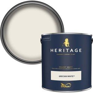 Dulux Heritage Matt Emulsion Paint - Grecian White - 2.5l Painting & Decorating, White