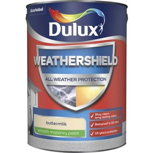 Dulux Weathershield All Weather Smooth Masonry Paint - Buttermilk - 5l Painting & Decorating, Cream