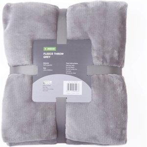 Homebase Fleece Throw - Grey - 120x150cm Home Accessories, Grey