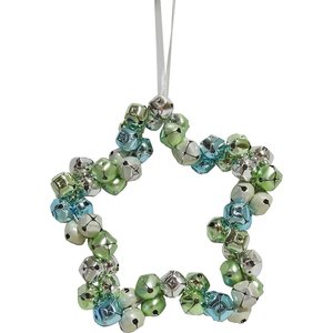 None Flora Bells Star Hanging Christmas Decoration Decorations, Green