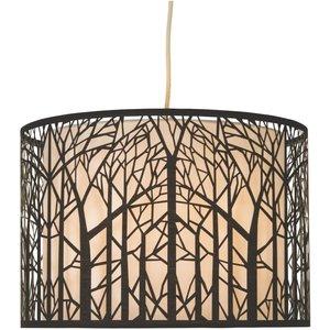 None Forrest Laser Cut Tree Pendant Light Shade - Black And White Lighting, Black