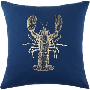 None Gold Lobster Print Cushion - Navy Home Accessories, Blue