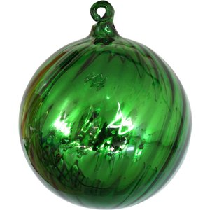 None Green Angled Rib Glass Christmas Tree Bauble Decorations, Green