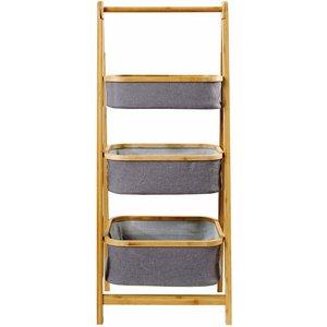 Lloyd Pascal Grey And Bamboo 3 Tier Unit Bathroom Unit Furniture