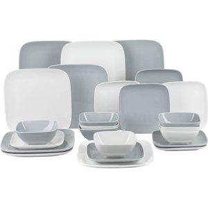 None Hampton Square 24 Piece Dinner Set - White & Grey Cookware & Utensils, Grey