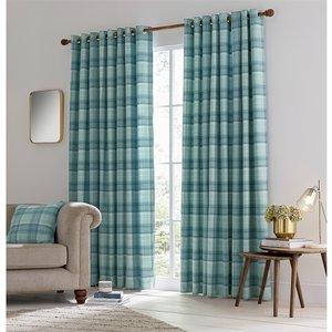 Bedeck Helena Springfield Harriet Lined Curtains 90 X 54 - Duck Egg Curtains & Blinds, Blue