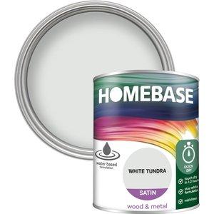 Homebase Paint Homebase Interior Quick Dry Satin Paint - White Tundra 750ml Painting & Decorating, White
