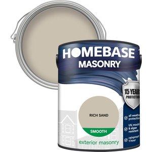 Homebase Paint Homebase Smooth Masonry Paint - Rich Sand 5l Painting & Decorating, Natural