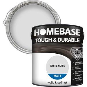Homebase Paint Homebase Tough & Durable Matt Paint - White Noise 2.5l Painting & Decorating, White
