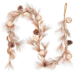 House Beautiful Gold Leaf And Bauble Christmas Garland - 180cm Decorations, Gold