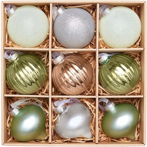 House Beautiful Winter Retreat Glass Christmas Tree Baubles -  9 Pack Decorations, Multicoloured