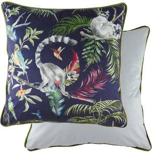None Jungle Monkey Velvet Cushion Home Accessories, Blue