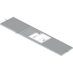 Maia Greystone Kitchen Sink Worktop - 1.5 Designer Right Hand Bowl - 360 X 65 X 2.8cm Sinks