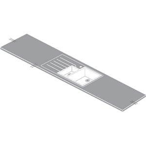 Maia Snow Haze Kitchen Sink Worktop - 1.5 Designer Right Hand Bowl - 360 X 65 X 2.8cm Sinks