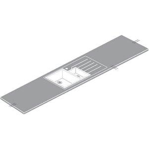 Maia Snow Haze Kitchen Sink Worktop - Acrylic 1.5 Designer Left Hand Bowl - 180 X 65 X 4.2 Sinks
