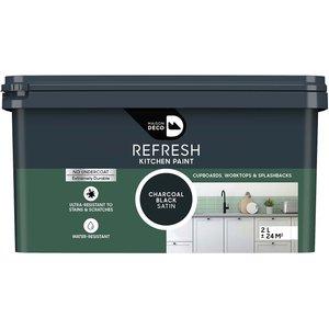 Maison Deco Refresh Kitchen Cupboards, Worktops & Splashbacks Paint Charcoal Black 2l Painting & Decorating, Black