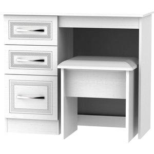 None Milton Dressing Table And Stool Set - White Furniture, White