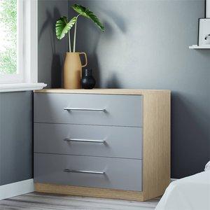 None Modular Bedroom Slab 3 Drawer Chest - Grey Furniture, Grey