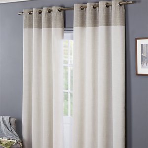 None Oslo 100% Cotton Eyelet Curtains 46 X 54 - Grey Curtains & Blinds, Grey