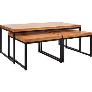 Homebase Phoenix Coffee Table Nest - Set Of 3 Furniture, Mid tone wood